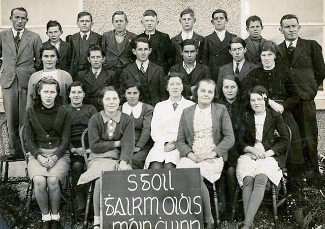 Mr. Christy Fewer(Teacher) and Mr. P. Connolly with Mooncoin Vocational School pupils 1942-43